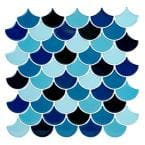Peel and Stick Wall Tile 4-Pack in Scallop Blues