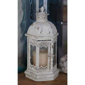 Rustic Distressed White Iron and Glass Candle Lantern (Set of 3)