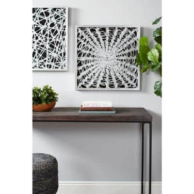 Large Square Modern Black and White Abstract Shadow Box Wall Art