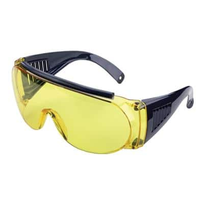 Shooting & Safety Fit Over Glasses for Use with Prescription Eyeglasses, Yellow Lenses, Wrap Around Frame