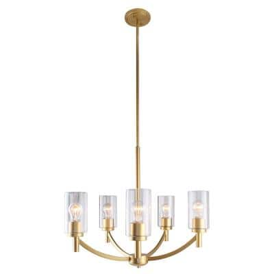 Devora 5-Ligth Antique Gold and Clear Glass Chandelier