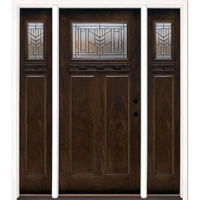 63.5 in.x81.625in.Phoenix Patina Craftsman Stained Chestnut Mahogany Left-Hd Fiberglass Prehung Front Door w/Sidelites