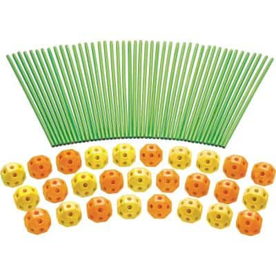 Orange and Yellow Balls Fort Building Kit Glow in the Dark Sticks Fun Construction Toy for Age 5 Plus (77-Piece)