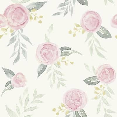 Watercolor Roses Pink Peel & Stick Repositionable Wallpaper Roll (Covers 34 Sq. Ft.)