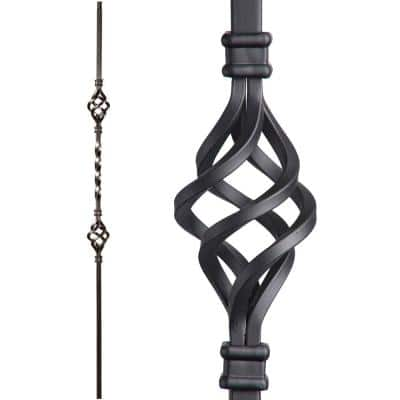 Twist and Basket 44 in. x 0.5 in. Satin Black Double Basket Solid Wrought Iron Baluster