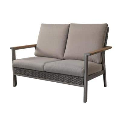 Metal Outdoor Loveseat with Gray Cushions
