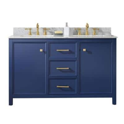 54 in. W x 22 in. D Vanity in Blue with Marble Vanity Top in White with White Basin with Backsplash