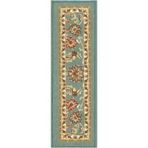 Kings Court Tabriz Blue Traditional Oriental Rubber Back Non-Skid 9 in. x 31 in. Stair Tread Cover (Set of 7)