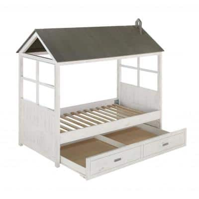 Amelia White and Washed Gray with Solid Wood Twin Bed