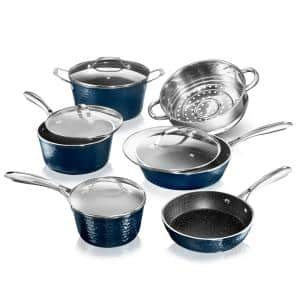 10-Piece Aluminum Hammered Ultra-Durable Non-Stick Diamond Infused Cookware Set in Blue