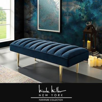 Denver Navy/Gold Velvet Bench with Upholstered