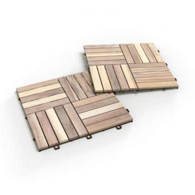CAMP 20, 1 ft. x 1 ft. x 0.5 in., 10 sq. ft., Acacia Deck Tiles in Organic White Stain Finish, 10 Tiles (10-Pack)