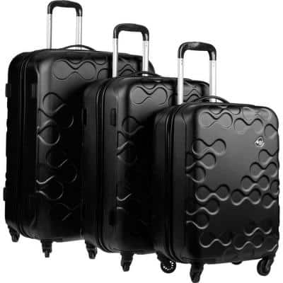 Harrana Black 3-Piece Spinner Luggage Set