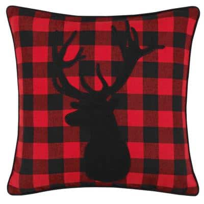Cabin Plaid Stag Head Red 1-Piece 20X20 Cotton Blend Throw Pillow