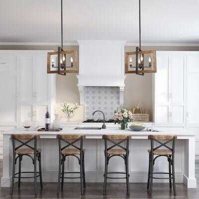 Modern Farmhouse 4-Light Matt Black Island Pendant Lighting Natural Wood Linear Chandelier with Open Geometric Frame