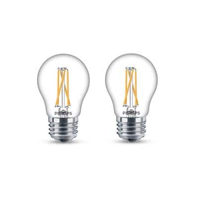 40-Watt Equivalent A15 Dimmable Medium Base LED Light Bulb with Warm Glow Dimming Effect Soft White (2-Pack)