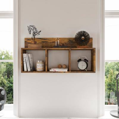 Porto Aged Pine Wood Laminate MDF Triple Cubbie Shelf