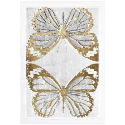 Golden Butterflies' Framed Animal Art Print 19 in. x 13 in.