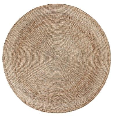 8' Round Chunky Natural Jute Braid Area Rug