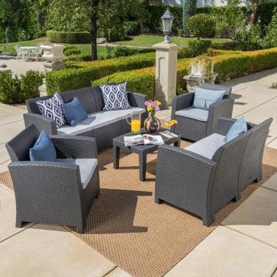 5-Piece Wicker Patio Seating Set with Light Gray Cushions