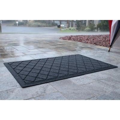 Aqua Shield Argyle Navy 23 in. x 35 in.  Recycled Polyester/Rubber Indoor Outdoor Door Mat