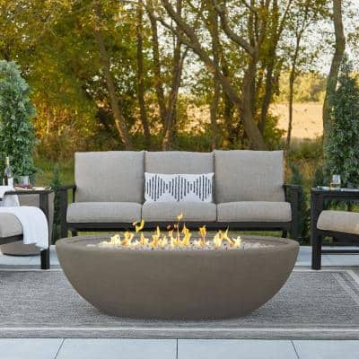 Riverside 58 in. W x 32 in. D Outdoor MGO Large Oval Propane Fire Bowl in Glacier Gray with Push Button Ignition