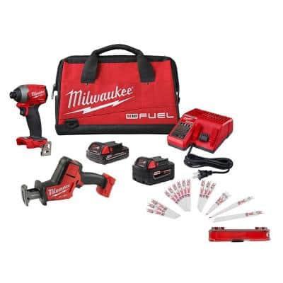 M18 FUEL 18-Volt Lithium-Ion Brushless Cordless HACKZALL Saw/Impact Driver Combo Kit (2-Tool) with Saw Blade Set