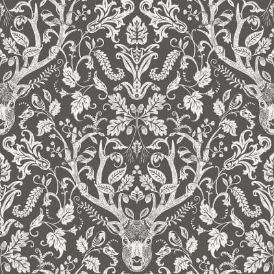 Kiwassa Brown Antler Damask Paper Strippable Roll (Covers 56.4 sq. ft.)