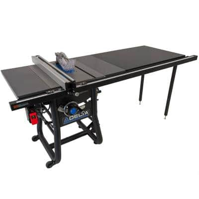 15 Amp 10 in. Table Saw with 52 in. Rip and Cast Iron Extension Tables