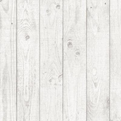 Barn Board Light Grey Vinyl Pre-Pasted Washable Wallpaper Roll (Covers 55 Sq. Ft.)