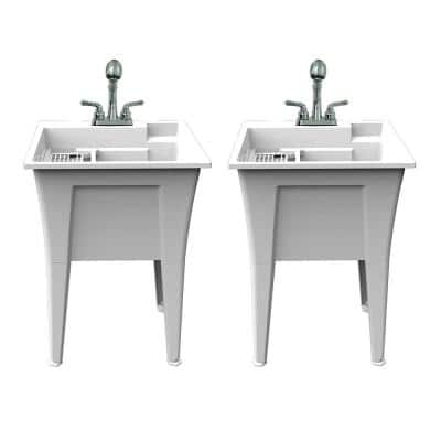 24 in. x 22 in. Polypropylene White Laundry Sink with 2 Hdl Non Metallic Pullout Faucet and Installation Kit (Pack of 2)