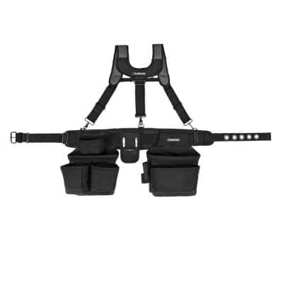 16-Pocket Black Carpenter's Tool Belt with Suspenders