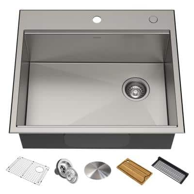 Kore Workstation Drop-In Stainless Steel 25 in. Single Bowl Kitchen Bar Sink with Accessories