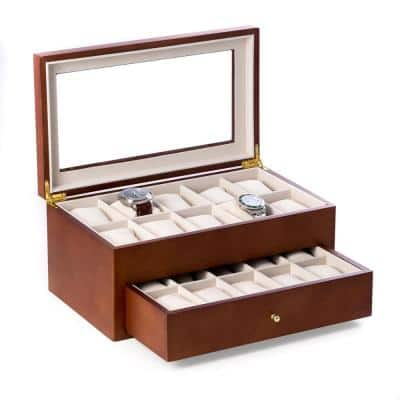 Cherry Wood 20-Watch Box with Glass Top and Drawer Velour Lining and Pillows