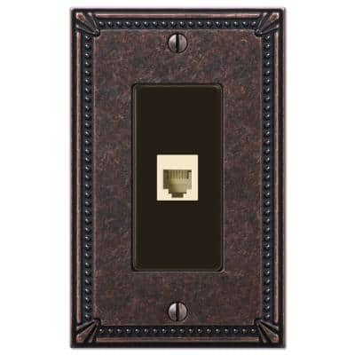 Imperial Bead 1 Gang Phone Metal Wall Plate - Tumbled Aged Bronze