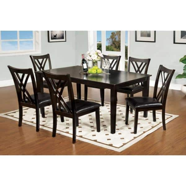 William S Home Furnishing Springhill Espresso Transitional Style Dining Table Set 7 Piece Cm3460t 7pk The Home Depot
