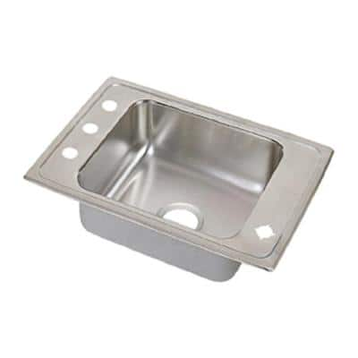 Lustertone Drop-In Stainless Steel 25 in. 4-Hole Single Bowl ADA Compliant Classroom Sink with 5.5 in. Bowls
