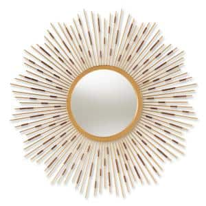 Medium Round Gold Contemporary Mirror (36 in. H x 36 in. W)
