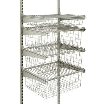 17 in. D x 21 in. W x 27 in. H ShelfTrack 4-Drawer Kit Steel Closet System in Nickel