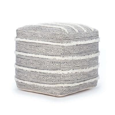 Taos 20 in. x 20 in. x 20 in. Gray and Ivory Pouf