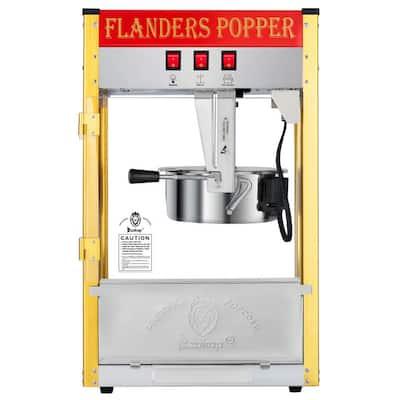 850-Watt 8 oz. Red Countertop Popcorn Machine with Single Door