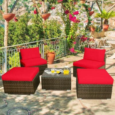 5-Piece Wicker Outdoor Chaise Lounge with Red Cushions