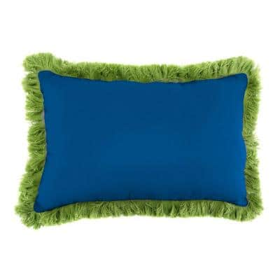 Sunbrella 19 in. x 12 in. Canvas Navy Lumbar Outdoor Throw Pillow with Gingko Fringe