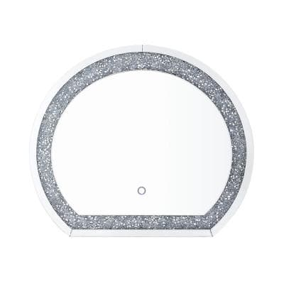 Noralie 26 in. x 2 in. Glam Irregular Framed LED, Mirrored and Faux Diamonds Beveled Glass Decorative Mirror