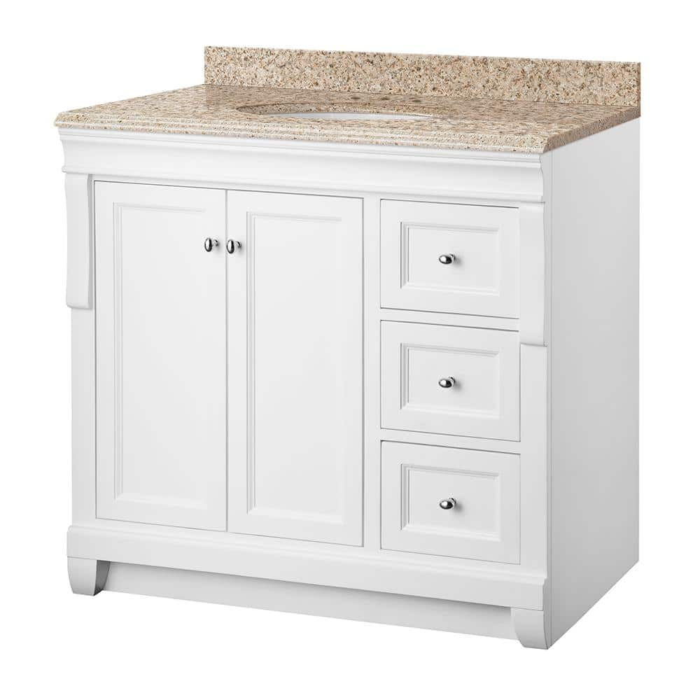Home Decorators Collection Naples 37 In W X 22 In D Bath Vanity In White With Granite Vanity Top In Beige With White Sink Nawa3621d Bge The Home Depot