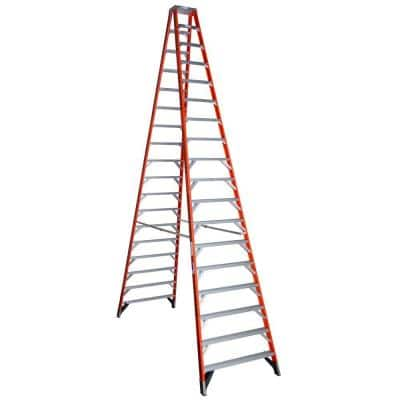 18 ft. Fiberglass Twin Step Ladder with 300 lb. Load Capacity Type IA Duty Rating