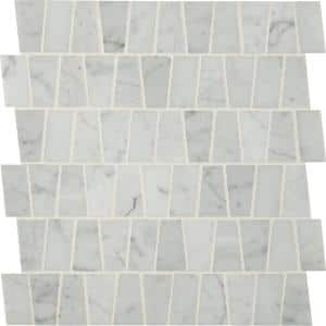 Carrara White 12 in. x 12 in. x 10mm Trapezoid Pattern Polished Marble Mesh-Mounted Mosaic Tile (10 sq. ft./Case)