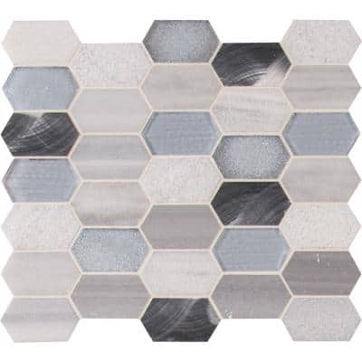 Harlow Picket 12 in. x 12 in. x 8 mm Textured Glass/Metal/Stone Mesh-Mounted Mosaic Tile (0.99 sq. ft.)