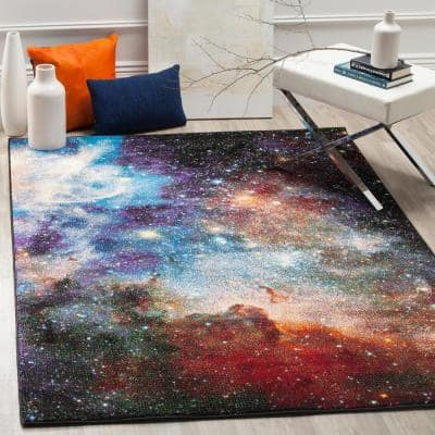 Galaxy Purple/Multi 8 ft. x 10 ft. Abstract Area Rug