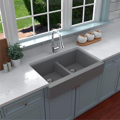 Retrofit Farmhouse Apron Front Quartz Composite 34 in. Double Bowl Kitchen Sink in Grey